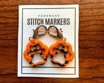 Wooden Stitch Marker Tiger Paw print, Crochet Stitch marker, Hand painted stitch marker