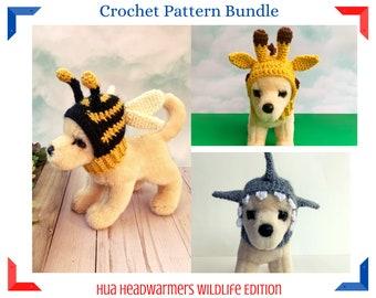 Crochet Pattern Bundle, 3 Pattern Bundle, Hua Headwarmer Pattern Bundle, Dog Hat Pattern Bundle