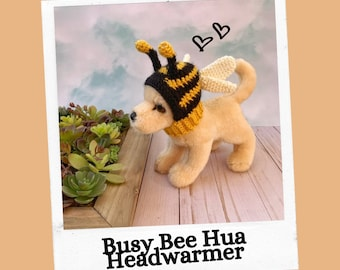Crochet Pattern, Busy Bee Hua Headwarmer, Chihuahua Hat, Small Dog Hat,