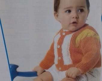 Cute baby  Cardigan .with contrast Cables .knitting Pattern .PDF File (C38)