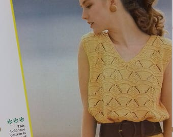 Woman's V Neck Lacey Top Knitting Pattern PDF file (C10)