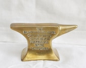 antique solid brass jewelry anvil Small anvil Brass paperweight Vintage mini anvil Retro Blacksmiths anvil paper holder