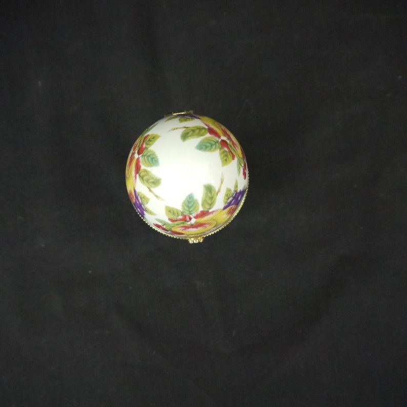 vintage porcelain egg  trinket box Faberge style egg fruit decoration jewelry box egg Russian egg box gift