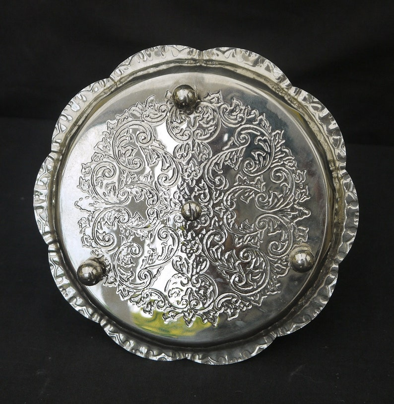 Vintage silver plate tray  with handle Silver dessert serving Stand cupcake Serving tray Ornate  Small tray on the feet Embossed Decorative