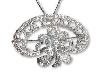 18k White Gold Custom-made Vintage Diamond Pendant/Pin-Dazzling Glitter!