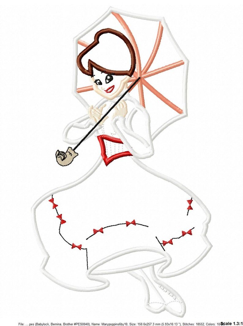 e668360d8449d Mary Poppins Applique Embroidery Design - Instant Download
