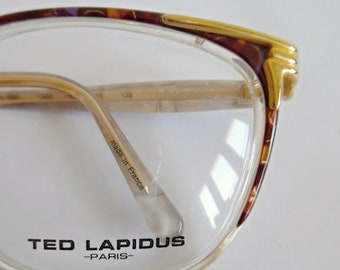 TED LAPIDUS PARIS . Eyewear Frames Glasses Spectacles Gold Amber Vintage 80s Retro