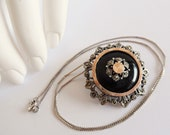 THE EVE STAR . Rose Gold Silver Necklace Silver 835 Pendant Dress Pin Brooch Sterling Silver 925 Chain Obsidian