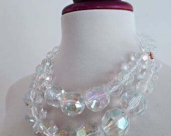 SALE :)) AURORA SPARKLES . Massive Rockabilly Mod Faceted Round Sphere Ball Beads Vintage Necklace Pinup Graduated Clear Transparent Perspex