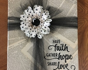 Wall Hanging made from old Bible pages.  Wise words to live by.  Beautiful original 11X14 canvas created to adorn any wall.