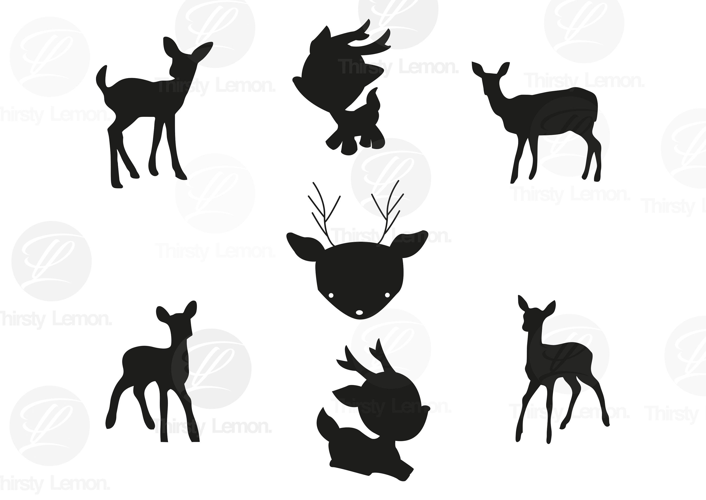 Laurel leaf Deer Wreath svg file Baby Deer svg commercial Flower Wreath vector Fawn Deer Silhouette cut file clip art Deer SVG file