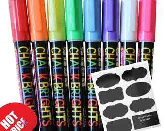 Liquid Chalk Markers 8 Colours Erasable Chalkboard Paint Marker  White Board Ink  Sealed Blackboard Bistro Wedding Boards Pen
