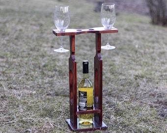 Wine Bottle Holder, Wine Caddie, Wooden Wine Glass Holder, Reclaimed Wood Bottle Holder, Rustic Wooden Wine Holder, Wine Glasses Holder