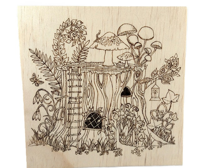 Color Your Own Fairy House Hand Burned Wooden Sign