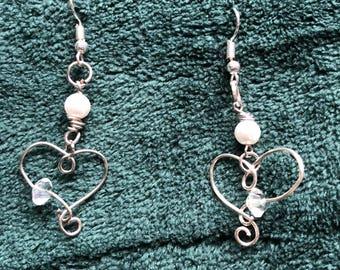 Silver Hearted Dangle Earrings