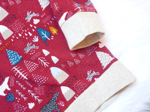 Hoodie Pullover, Gr. 68 134, Wald Bär Berge in rot beige blau