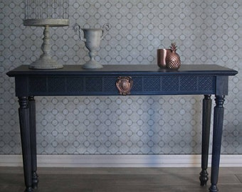 Console Table , Dark Blue Furniture Console Table , Chic Shabby Vanity ,  Side Table , Entry Table , Foyer Table , Tables
