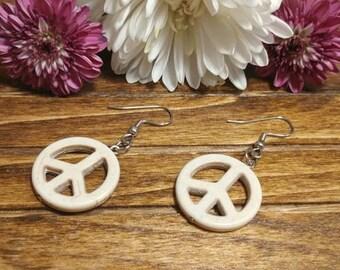 White Peace Sign Earrings