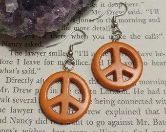 Orange Peace Sign Earrings