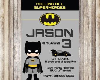 Batman invitations etsy printed batman birthday invitation batman birthday invitation printed batman invitation digital file batman birthday party filmwisefo