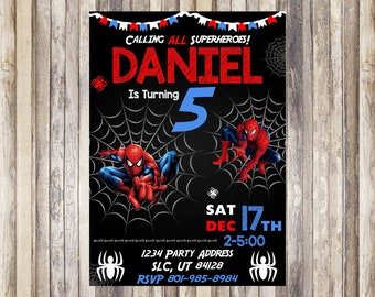 Spiderman Birthday Invitation Theme Printable Superhero Party Printed