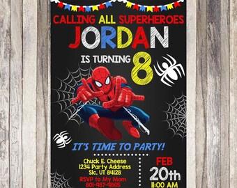 Spiderman Birthday Invitation Invite Superhero Party Printable Theme DIY