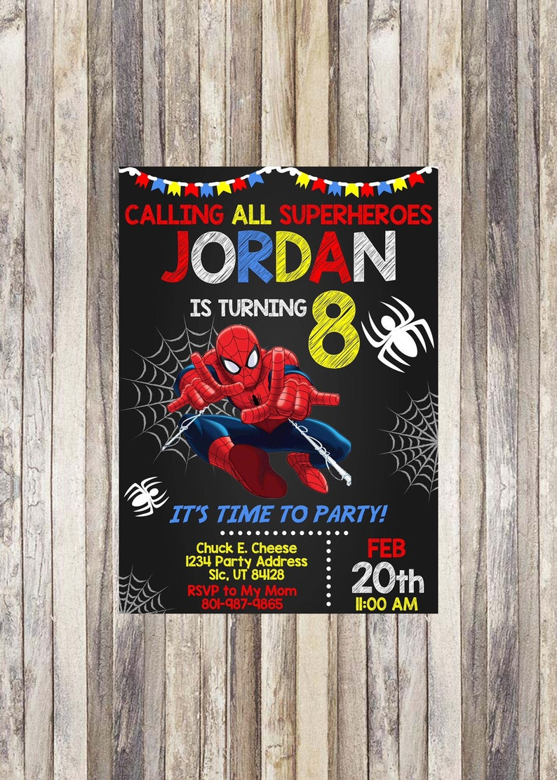 Spiderman Birthday Invitation Invite Superhero