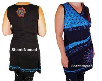 Bohemian Dress, Stretch Cotton Dress, Embroidered Sun Dress, Office Dress , Sleeveless
