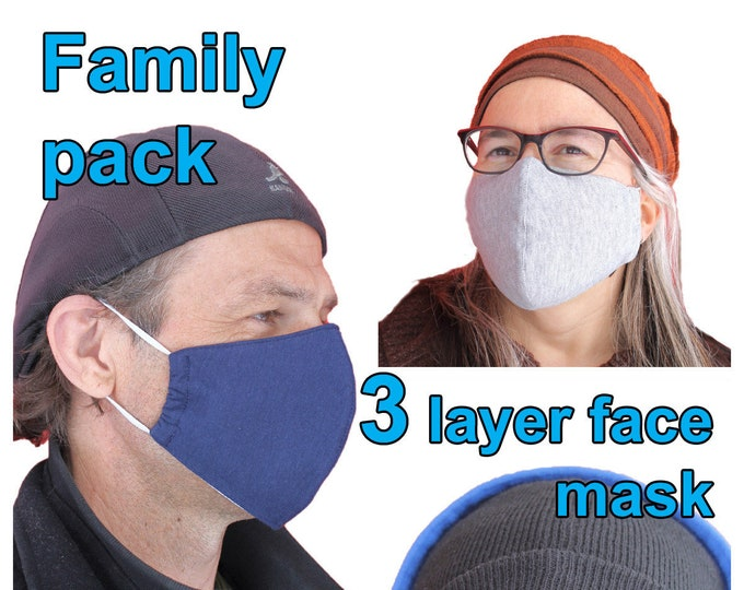 Face Mask - 5/10 multi pack=Cotton Face Mask - Face mask with Filter pocket- Reuseable - Washable