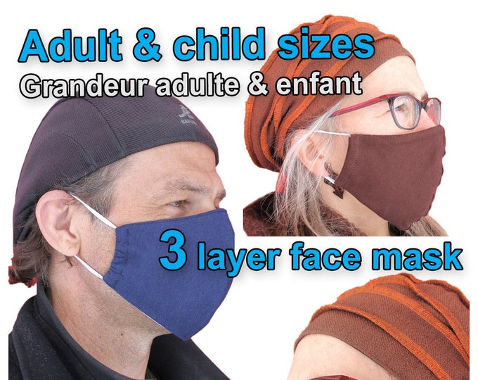 Face Mask - Cotton Face Mask - Face mask with Filter pocket- Reuseable - Washable