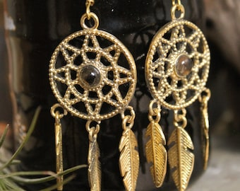 Brass Dream Catcher  earring , Boho Earring , Tribal Earring , Gypsy Earring