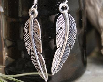 Brass Feather earring , Boho Earring , Tribal Earring , Gypsy Earring