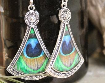 Brass Peacock Feather earring , Boho Earring , Tribal Earring , Gypsy Earring