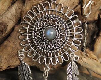 Brass feather Necklace, Boho Necklace, Tribal Necklace, Gypsy Necklace