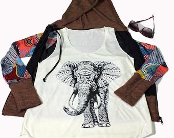 Elephant tank top for women - Yoga  Exercise - White Top - Elephant Top