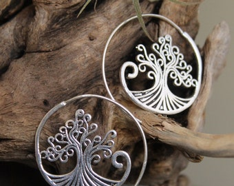 Brass tree of life earring , Boho Earring , Tribal Earring , Gypsy Earring