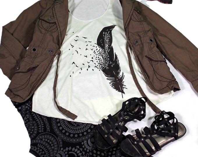 Feather  tank top for women - Yoga  Exercise - White Top - Feather Top- One Feather Top