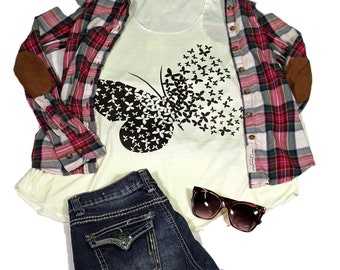 Butterfly tank top for women - Yoga  Exercise - White Top - Butterfly Top