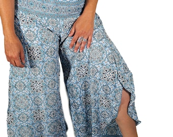 Flared Palazzo trousers , soft , comfortable , yoga pants ,Boho flared festival pants  , Hippy bell bottoms
