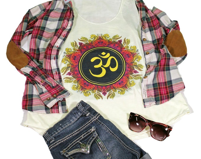Om Tank Top - Yoga Tank  top for women - Yoga  Exercise - White Top -Meditation Top - Om Top