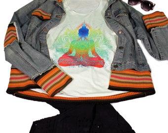 Yoga  top for women - Yoga  Exercise - White Top -Meditation Top - Yin yang