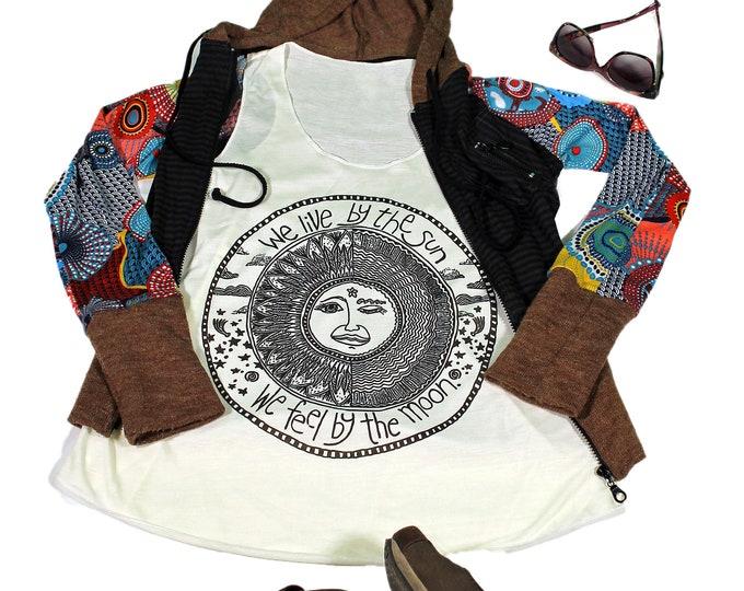 Sun tank top for women - Yoga  Exercise - White Top - Sun n Moon  Top
