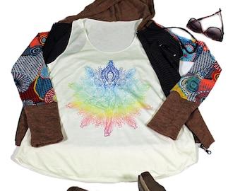 Yoga Tank  top for women - Yoga  Exercise - White Top -Meditation Top
