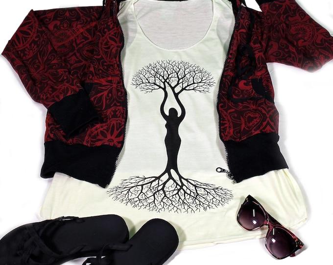 Tree Of Life top for women - Yoga  Exercise - White Top - Tree Of Life Top