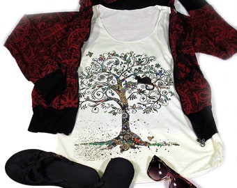 Tree Of Life tank top for women - Yoga  Exercise - White Top - Cat Tank Top