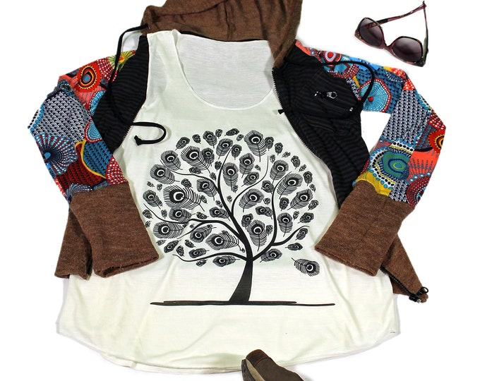 tree of Life  tank top for women - Yoga  Exercise - White Top - Feather Top