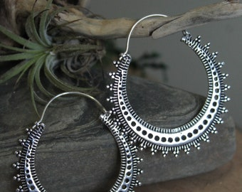 Brass Tribal Earring , Hoop EarringBoho Earring , Tribal Earring , Gypsy Earring