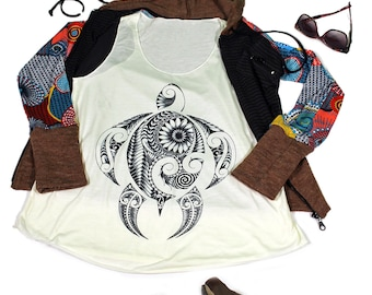 Turle tank top for women - Yoga  Exercise - White Top - Turtle Top