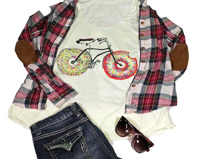 Bike tank top for women - Yoga  Exercise - White Top - Donut Top