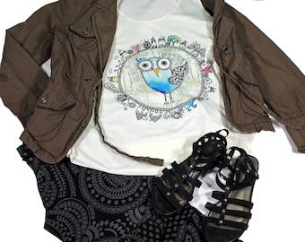 Bird tank top for women - Yoga  Exercise - White Top - Bird Top